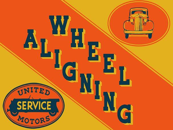 United Motors Service Wheel Aligning Metal Sign