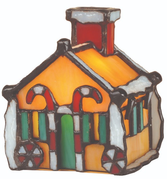 """Gingerbread House Accent Lamp 4.5"""" Tiffany Style Stained Glass Accent Lamp 82175"""