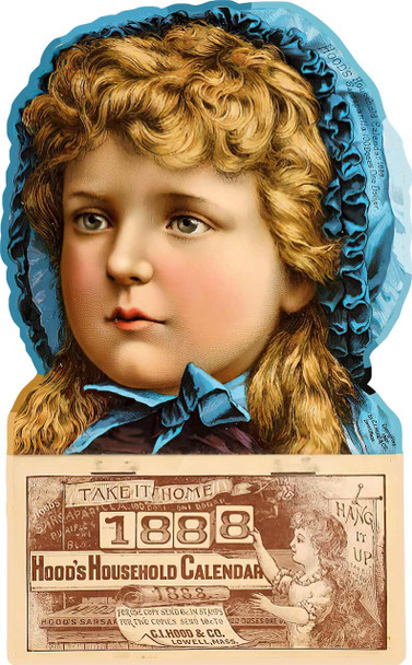 Hood's Calendar 1888 Advertising Metal Sign