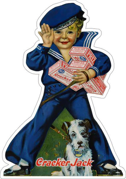 Cracker Jack Sailor Boy Metal Advertising Sign