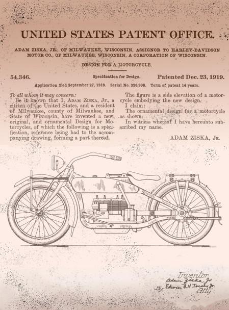 Harley Davidson US Patent Metal Sign