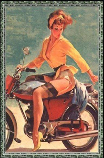 Motorcycle Pinup Metal Sign