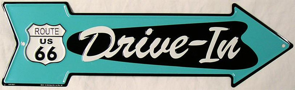 Drive-In Route 66 (arrow) Metal Sign