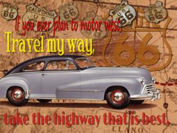 Travel My Way-Route 66 Metal Sign