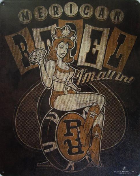 Merican Rebel Casino Pin Up Metal Sign
