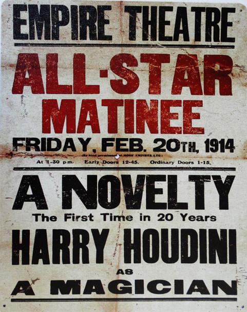The Great Houdini Garrick Theater Metal Sign