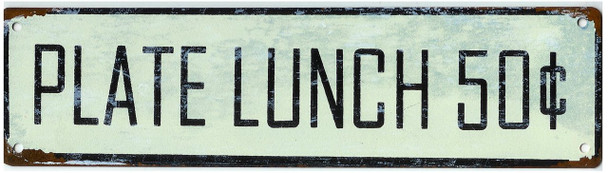 Plate Lunch 50c Distressed Sign