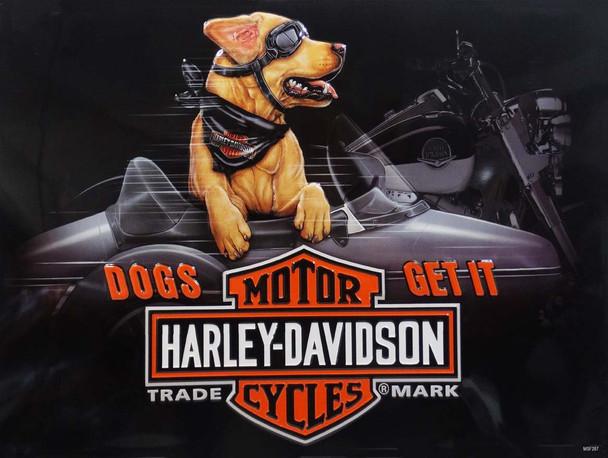 Dogs Get It Sidecar Buddy Harley-Davidson Metal Sign