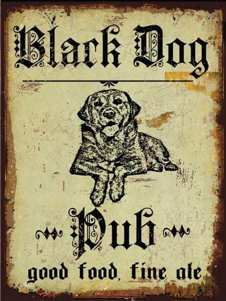 Black Dog Pub Metal Sign