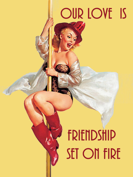 Our Love Is Friendship On Fire Firefighting Pin Up Metal Sign
