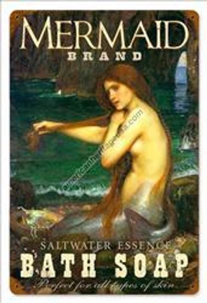 Mermaid Bath Soap Pin-Up Metal Sign