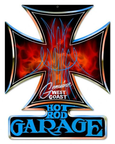 Hot Rod Garage-Iron Cross Metal Sign
