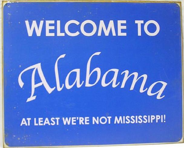 Welcome To Alabama (disc) Metal Sign