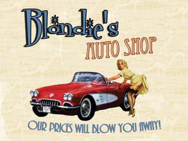 Blondie's Auto Shop Metal Sign