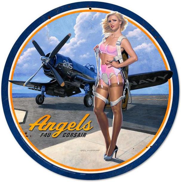 Angel F4U Corsair Round Metal Sign