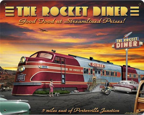 Rocket Diner Metal Sign