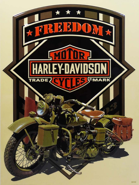Freedom Green Military Harley-Davidson Motorcycle Metal Sign