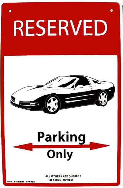 Reserved Parking Only Corvette Aluminum Sign