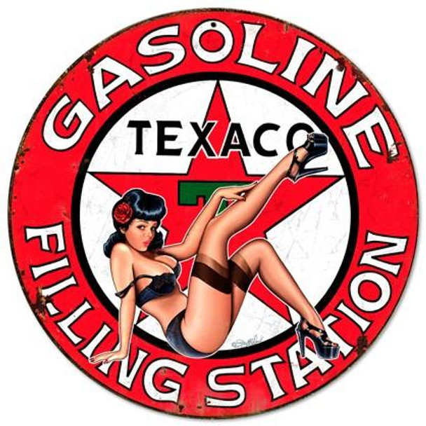 "Texaco Gasoline Pin-Up 14"" Round Metal Sign"