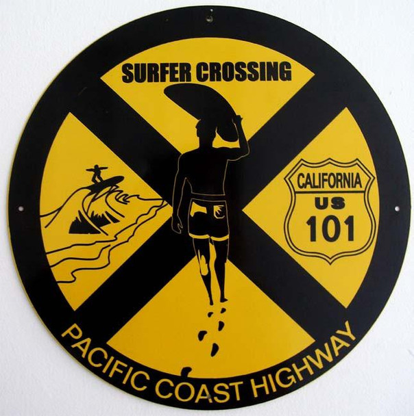 """Surfer Crossing  14"""" Round Metal Sign"""