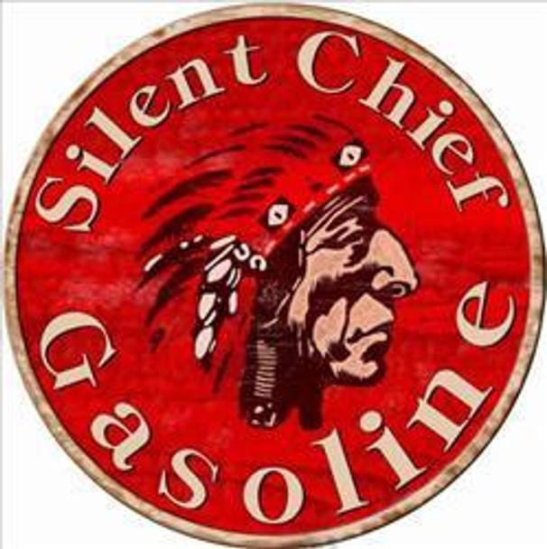 """Silent Chief Gasoline 14"""" Round Metal Sign"""