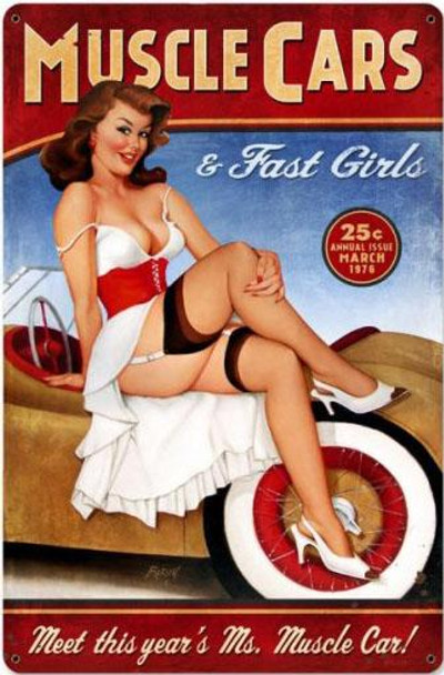 Muscle Cars Pin-Up Metal Sign