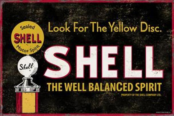 Shell-Yellow Dot Metal Sign