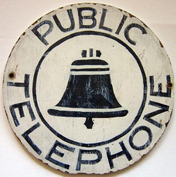 Public Telephone Round Wood Sign