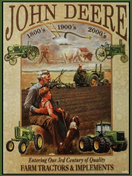 John Deere 3 Centuries of Farming Equipment metal sign