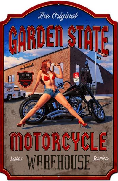 Garden State Motorcycle Pinup  XL Plasma Cut Sign