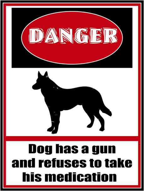 Danger Dog Has Gun Metal Sign