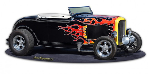 1932 Flames Roadster metal sign