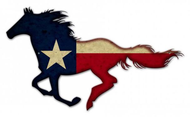 Texas Flag Plasma Cut Metal Sign in Horse Shape
