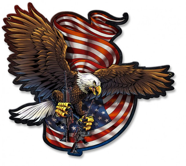 Soaring American Eagle with Guns and USA Flag