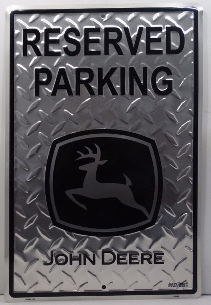 John Deere Reserved Parking Black and Silver Embossed Aluminum Sign
