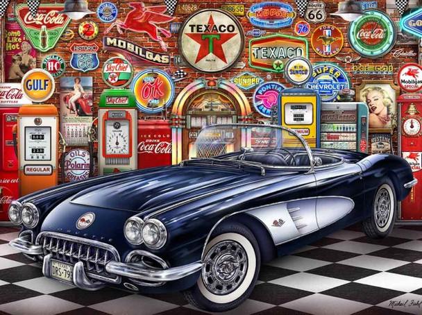 1958 Corvette Garage Fishel Metal Sign