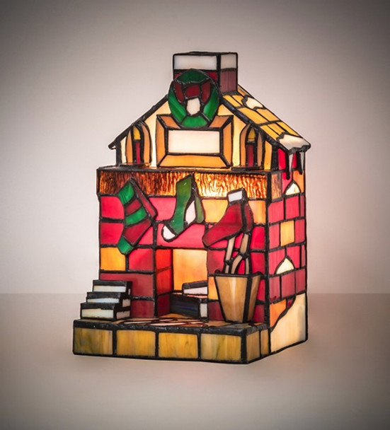 Fireplace with Stockings Stained Glass Christmas Accent Lamp 18457