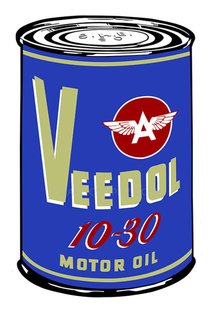 """Blue Veedoil 18"""" Oil Can Metal Sign"""