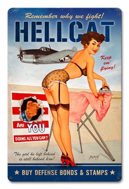 Hellcat Pin Up Metal Sign
