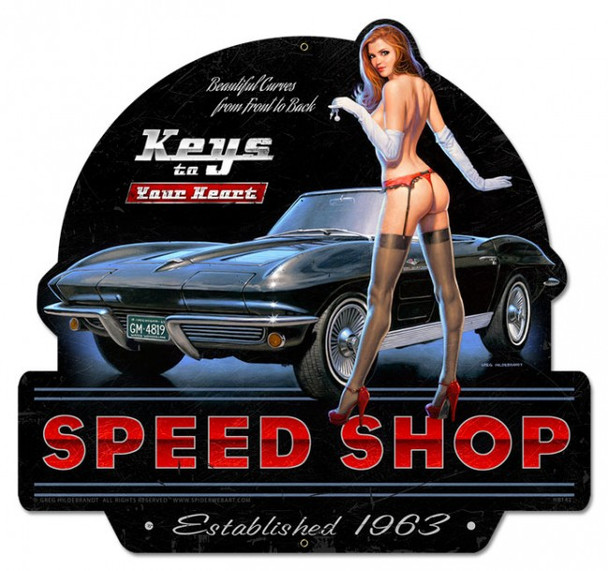 Keys to Your Heart Speed Shop Pin-Up XL Metal Sign