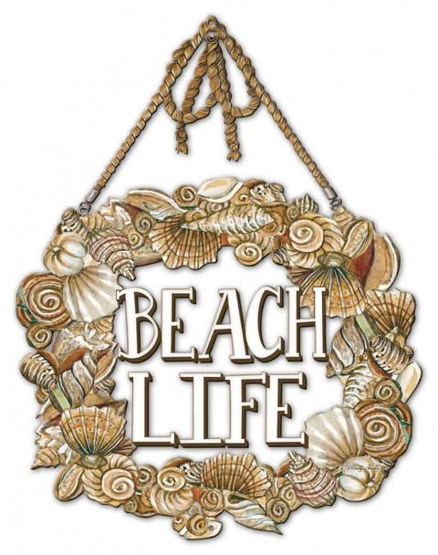 Seashell Wreath - Beach Life Plasma Cut Metal Sign