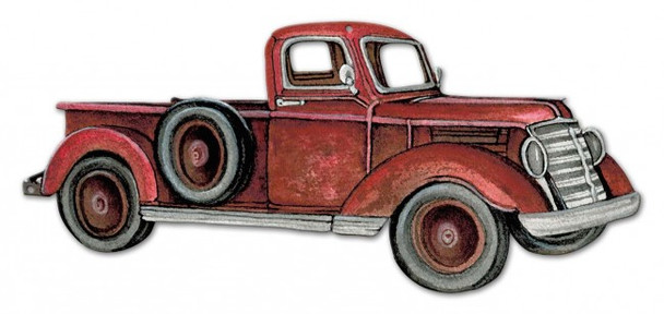 Rustic Red Pick Up Truck Plasma Cut Metal Sign