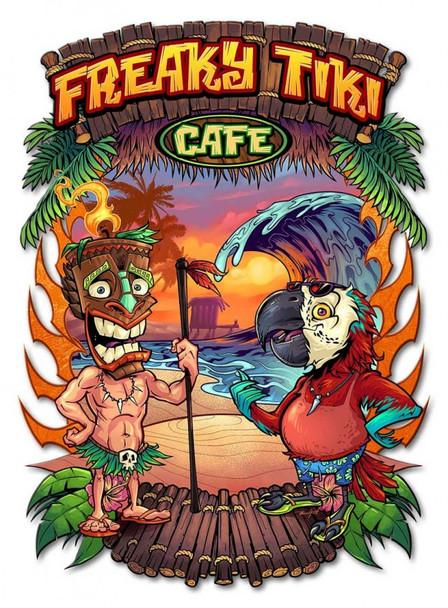 Freaky Tiki Cafe Plasma Cut Metal Sign