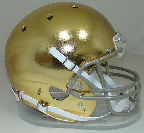 Notre Dame Fighting Irish Special TEXTURED GOLD CHROME Schutt Full Size Replica XP Football Helmet
