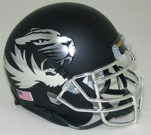 Missouri Tigers Alternate CHROME Matte Black Schutt Mini Authentic Helmet