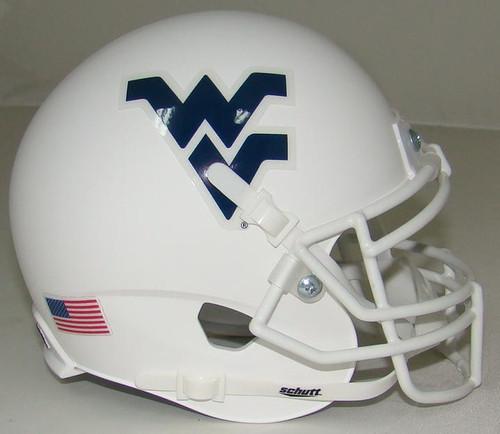 West Virginia Mountaineers Alternate White Schutt Mini Authentic Helmet