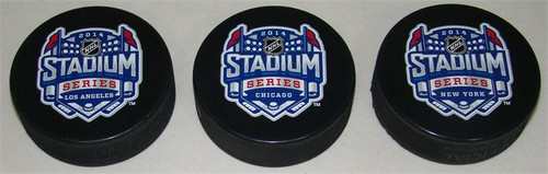 2014 NHL Stadium Series All 3 Cities Sherwood Souvenir Pucks Set