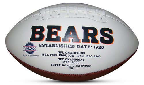 Chicago Bears Embroidered Signature Series Autograph Football with Championships and Super Bowl XX Logo