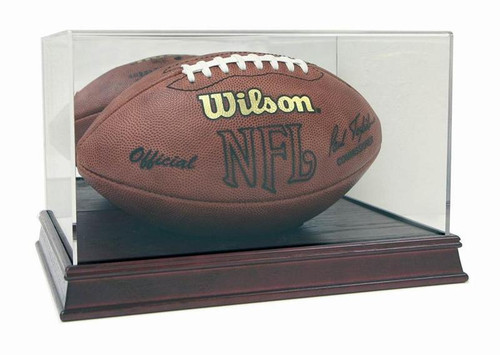 NEW DELUXE FULL SIZE FOOTBALL CHERRY WOOD BASE DISPLAY