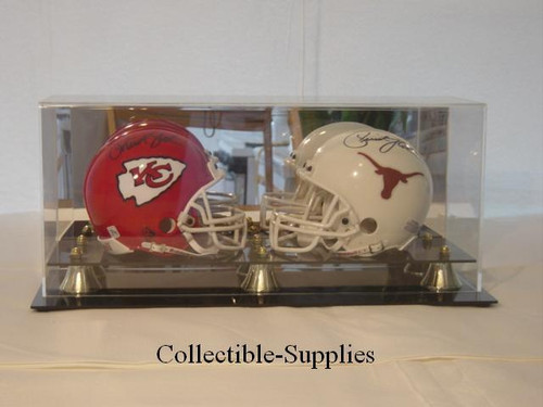 DELUXE DOUBLE MINI HELMET DISPLAY with 6 Gold Risers